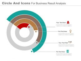 one Circle And Icons For Business Result Analysis Flat Powerpoint Design