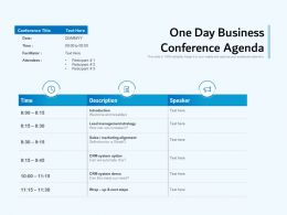 One Day Business Conference Agenda