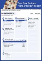 One Day Business Planner Layout Report Presentation Report Infographic PPT PDF Document
