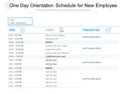 One Day Orientation Schedule For New Employee