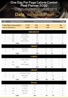 One Day Per Page Calorie Control Meal Planner 2020 Presentation Report Infographic PPT PDF Document