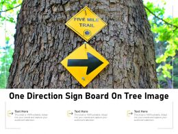 One Direction Sign Board On Tree Image