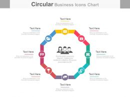 one Eight Staged Business Icons Chart For Team Management Flat Powerpoint Design