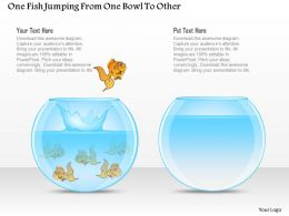 One Fish Jumping From One Bowl To Other Powerpoint Template