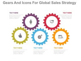 one Five Gears And Icons For Global Sales Strategy Flat Powerpoint Design