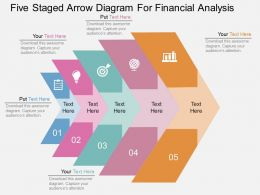 one Five Staged Arrow Diagram For Financial Analysis Flat Powerpoint Design