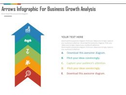 one Five Staged Arrow Infographics For Business Growth Analysis Flat Powerpoint Design