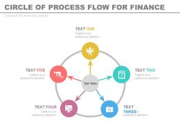 one Five Staged Circle Of Process Flow For Finance Flat Powerpoint Design