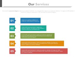 one Five Staged Colored Chart For Our Services Flat Powerpoint Design