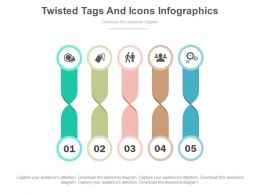 one Five Twisted Tags And Icons Infographics Flat Powerpoint Design