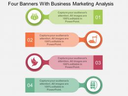 one Four Banners With Business Marketing Analysis Flat Powerpoint Design