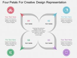 one Four Petals For Creative Design Representation Flat Powerpoint Design