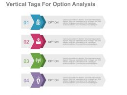 one Four Staged Vertical Tags For Option Analysis Flat Powerpoint Design