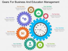 one Gears For Business And Education Management Flat Powerpoint Design
