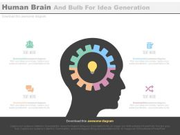one Human Brain And Bulb For Idea Generation Strategy Flat Powerpoint Design