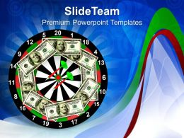 One Hundred Dollar Bills On A Dartboard PowerPoint Templates PPT Themes And Graphics 0213