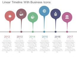 one Linear Timeline With Business Icons Flat Powerpoint Design