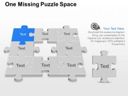 One Missing Puzzle Space Powerpoint Template Slide