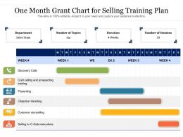 One Month Grant Chart For Selling Training Plan