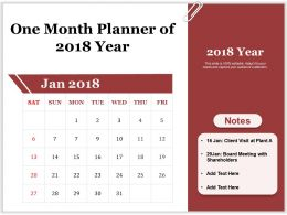 One Month Planner Of 2018 Year