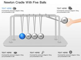 one Newton Cradle With Five Balls Powerpoint Template