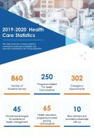 One Page 2019 2020 Health Care Statistics Presentation Report Infographic PPT PDF Document
