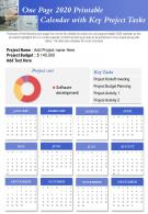 One Page 2020 Printable Calendar With Key Project Tasks Presentation Report Infographic PPT PDF Document