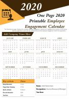 One Page 2020 Printable Employee Engagement Calendar Presentation Report Infographic PPT PDF Document