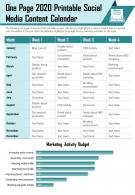 One Page 2020 Printable Social Media Content Calendar Presentation Report Infographic PPT PDF Document