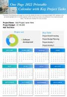 One Page 2022 Printable Calendar With Key Project Tasks Presentation Report Infographic PPT PDF Document