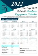 One Page 2022 Printable Employee Engagement Calendar Presentation Report Infographic PPT PDF Document