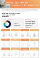 One Page 2023 Printable Calendar With Key Project Tasks Presentation Report Infographic PPT PDF Document