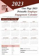 One Page 2023 Printable Employee Engagement Calendar Presentation Report Infographic PPT PDF Document