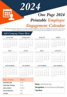 One Page 2024 Printable Employee Engagement Calendar Presentation Report Infographic PPT PDF Document