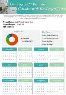 One Page 2025 Printable Calendar With Key Project Tasks Presentation Report Infographic PPT PDF Document