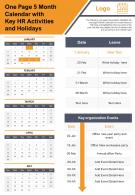 One Page 5 Month Calendar With Key Hr Activates And Holidays Presentation Report Infographic PPT PDF Document