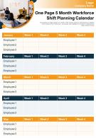 One Page 5 Month Workforce Shift Planning Calendar Presentation Report Infographic PPT PDF Document