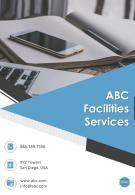 One Page ABC Facilities Services Contact Us Page Annual Work Summary Report Infographic PPT PDF Document