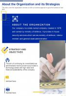 One Page About The Organization And Its Strategies Presentation Report Infographic PPT PDF Document