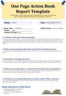 One Page Action Book Report Template Presentation Report Infographic PPT PDF Document
