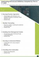 One Page Addressing Advanced Initiatives Adopted By Firm In FY 2020 Infographic PPT PDF Document