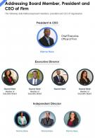 One Page Addressing Board Member President And CEO Of Firm Report Infographic PPT PDF Document