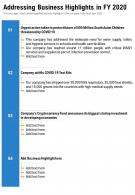One Page Addressing Business Highlights In FY 2020 Template 208 Presentation Report Infographic PPT PDF Document