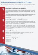 One Page Addressing Business Highlights In FY 2020 Template 83 Infographic PPT PDF Document