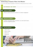One Page Addressing Company Vision And Mission Template 326 Presentation Report Infographic PPT PDF Document