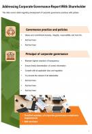 One Page Addressing Corporate Governance Report With Shareholder Template 259 PPT PDF Document