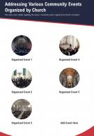 One Page Addressing Various Community Events Organized By Church Report Infographic PPT PDF Document