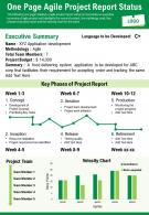 One Page Agile Project Report Status Presentation Report Infographic PPT PDF Document