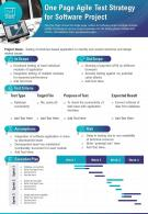 One Page Agile Test Strategy For Software Project Presentation Report Infographic PPT PDF Document