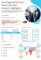 One Page Airline Fact Sheet With Key Industry Highlights Presentation Report PPT PDF Document